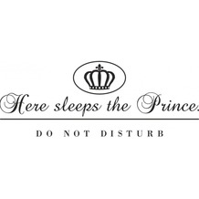 cuadros Wallslogan here sleeps the prince?do not disturb, dark-grey, 58x23 cm
