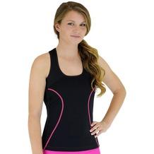 Delfin Spa Fitness-Tankini Full Coverage mit Wärme-Effekt - aus Neopren mit Biokeramik, Black/Pink XS (34/36)