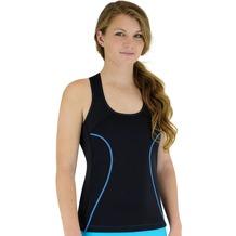 Delfin Spa Fitness-Tankini Full Coverage mit Wärme-Effekt - aus Neopren mit Biokeramik, Black/Blue XS (34/36)