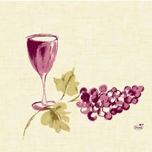Duni Servietten 3lagig aus Zelltuch Motiv Vin, 33 x 33 cm, 1/4 Falz,  250 Stück