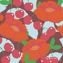 Duni Servietten Hanna Werning Motiv Cherry, 33 x 33 cm, 20 Stück 3lagig Tissue