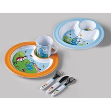 emsa Kindergeschirr Starter-Set ANTON ANT 6-teilig, flacher / tiefer Teller, 3er-Besteck-Set, Tasse