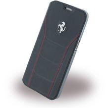 Ferrari 488 Leder BookCover für Samsung Galaxy S7, schwarz/rot