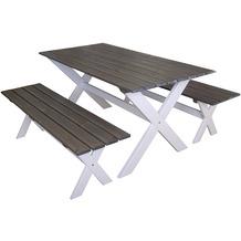 Gartenfreude Gartengarnitur 3-teilig, Tisch 150 x 80 cm und 2 Bänke 140 cm aus Kiefernholz aus Europa, weiß-aschg
