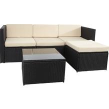 Gartenfreude Loungegruppe Polyrattan 13-teilig, Aluminiumgestell, schwarz im eleganten 4-Faser Design, wetterfest
