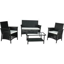 Gartenfreude Sitzgruppe Polyrattan 7-teilig, Aluminiumgestell, schwarz, wetterfest, inklusive Kissen