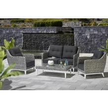 """Geflecht Lounge Gruppe """"Antigua"""" Sessel  70,5 x 80,5 x 85 cmBank  130 x 80 x 85 cmT light grey"""