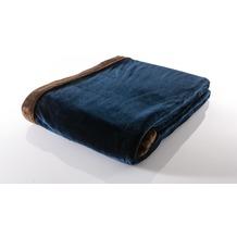 Gözze Seiden Feeling Decke dunkelblau 150 x 200 cm