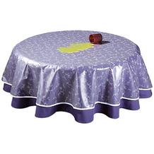 Grasekamp Tischdeckenschoner PVC Folie Ø 130cm Transparent mit weißem Blumenaufdruck