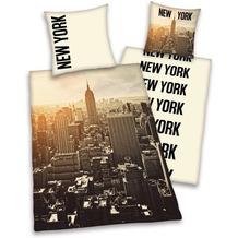 """Herding Microfaser-Bettwäsche Young Collection """"New York"""", beige 135x200 + 80x80 cm"""
