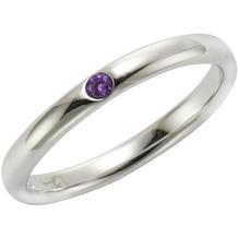 Jamelli Ring 925/- Sterling Silber rhodiniert mit Amethyst weiß 52 (16,6)