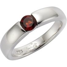 Jamelli Ring 925/- Sterling Silber rhodiniert mit Granat Silbergrau 52 (16,6)