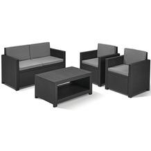 Jardin Monaco Loungeset, Geflechtoptik graphit bestehend aus: 2 x Sessel, 1 x Bank, 1 x Tisch,inklusive Sitz- und Rückenkissen grau