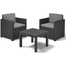 Jardin Victoria Balkonset, Geflechtoptik graphit bestehend aus: 2 x Sessel,1 x Tisch,inklusive Sitz- und Rückenkissen grau