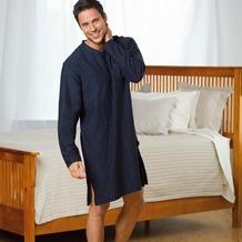 Jockey Nachtwäsche Nachthemd, langarm, gestreift, V-Ausschnitt mit Kontrasteinfassung,1 Brusttasche und Seitenschlitze navy 4XL