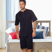 Jockey Nachtwäsche Pyjama, kurzarm mit Knopfleiste, uni mit Konstrastziernähten navy 4XL