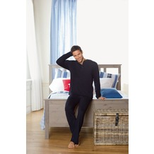 Jockey Nachtwäsche Pyjama, langarm mit Knopfleiste, uni mit Konstrastziernähten navy 4XL