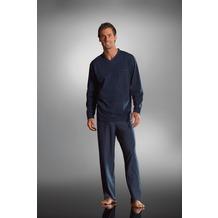 Jockey Nachtwäsche Pyjama, langarm mit V-Ausschnitt. Oberteil uni mit Kontrasteinfassung am Ausschnitt. 1 Brusttasche, Hose gestreift harbor gray 4XL