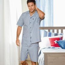 Jockey Nachtwäsche Webpyjama, kurzarm, Reverskragen, 1 Brusttasche, Hose mit 1 Knopf-Verschluß und 2 seitlichen Taschen navy stripe 4XL