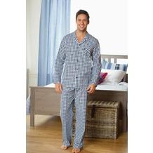 Jockey Nachtwäsche Webpyjama, langarm, Reverskragen, 1 Brusttasche, gerade Hose, 1 Knopf-Verschluß und 2 seitlichen Taschen navy check 4XL