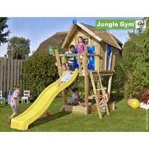 jungle gym Spielhaus Crazy Playhouse CXL mit langer Wavy Star Rutsche gelb