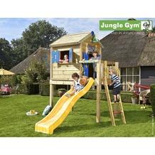 jungle gym Spielhaus Jungle Playhouse L mit kurzer Wavy Star Rutsche gelb