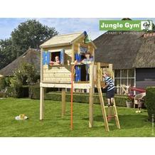 jungle gym Spielhaus Jungle Playhouse L mit roter Feuerwehr-Rutschstange