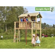 jungle gym Spielhaus Jungle Playhouse XL mit roter Feuerwehr-Rutschstange