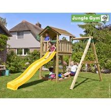 jungle gym Spielturm Cottage 1-Schaukel mit langer Wavy Star Rutsche mit Wasseranschluss gelb