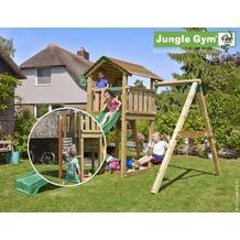 jungle gym Spielturm Cottage 1-Schaukel mit roter Feuerwehr-Rutschstange