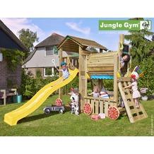 jungle gym Spielturm Cottage Zug mit langer Wavy Star Rutsche mit Wasseranschluss gelb