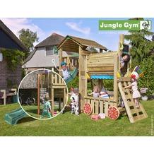 jungle gym Spielturm Cottage Zug mit roter Feuerwehr-Rutschstange
