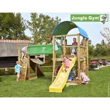 jungle gym Spielturm Farm Hängebrücke mit kurzer Wavy Star Rutsche mit Wasseranschluss gelb
