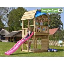 jungle gym Spielturm Jungle Barn mit langer Wavy Star Rutsche mit Wasseranschluss gelb