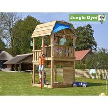 jungle gym Spielturm Jungle Barn mit roter Feuerwehr-Rutschstange