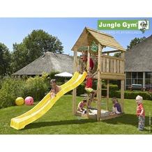 jungle gym Spielturm Jungle Cabin mit langer Wavy Star Rutsche mit Wasseranschluss gelb