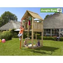 jungle gym Spielturm Jungle Cabin mit roter Feuerwehr-Rutschstange