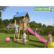 jungle gym Spielturm Jungle Castle mit kurzer Wavy Star Rutsche mit Wasseranschluss gelb