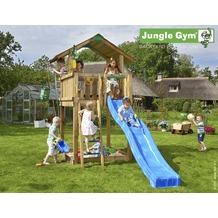 jungle gym Spielturm Jungle Chalet mit langer Wavy Star Rutsche mit Wasseranschluss gelb