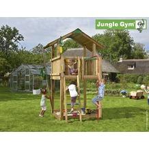 jungle gym Spielturm Jungle Chalet mit roter Feuerwehr-Rutschstange