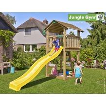 jungle gym Spielturm Jungle Cottage mit langer Wavy Star Rutsche mit Wasseranschluss gelb