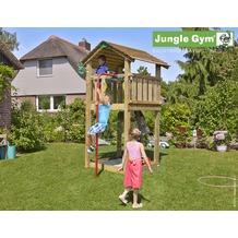 jungle gym Spielturm Jungle Cottage mit roter Feuerwehr-Rutschstange