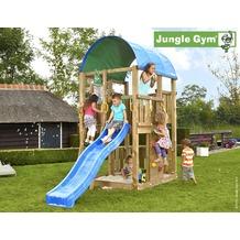 jungle gym Spielturm Jungle Farm mit kurzer Wavy Star Rutsche mit Wasseranschluss gelb