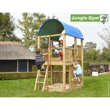 jungle gym Spielturm Jungle Farm mit roter Feuerwehr-Rutschstange