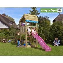 jungle gym Spielturm Jungle Home mit kurzer Wavy Star Rutsche mit Wasseranschluss gelb