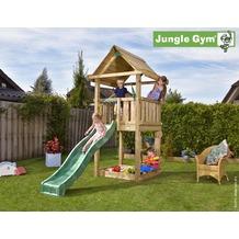 jungle gym Spielturm Jungle House mit kurzer Wavy Star Rutsche mit Wasseranschluss gelb