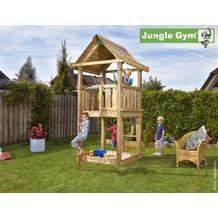 jungle gym Spielturm Jungle House mit roter Feuerwehr-Rutschstange