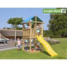 jungle gym Spielturm Jungle Hut mit kurzer Wavy Star Rutsche mit Wasseranschluss gelb