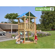 jungle gym Spielturm Jungle Hut mit roter Feuerwehr-Rutschstange