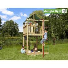 jungle gym Spielturm Jungle Lodge mit roter Feuerwehr-Rutschstange